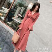 秋冬裝女新款法式復古桔梗裙初戀氣質打底裙子長裙針織連身裙    韓小姐