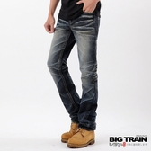 BIG TRAIN 墨達人祥雲小直筒褲-男-深藍