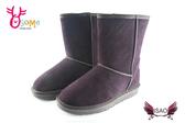 ISAO韓版女款雪靴 真皮素面款內裡鋪毛保暖雪靴M8067#咖啡◆OSOME奧森鞋業