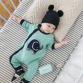 中大尺碼 嬰兒連體衣秋季外出潮四個月男寶寶衣服女長袖裝 ys6332『毛菇小象』