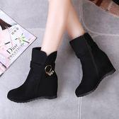 【免運】女靴子 季 平底內增高磨砂短靴坡跟短筒靴學生騎士靴潮 隨想曲