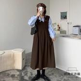 背帶連身裙女裝秋季收腰顯瘦長款裙子減齡【時尚大衣櫥】