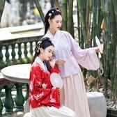 【免運】傳統漢服櫻花印花交領寬袖上衣襖裙琵琶袖單層日常雙色兩件套洋裝 隨想曲