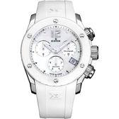 EDOX Class-1 陶瓷珍珠貝計時腕錶-白/38mm E10403.3B.NAIN
