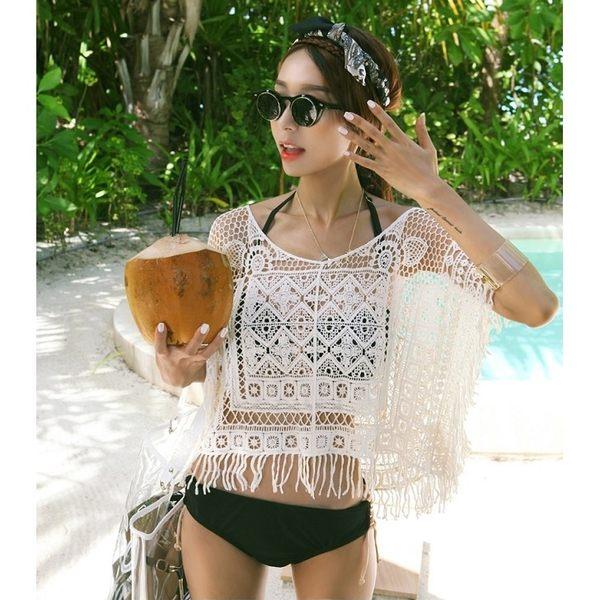 夏日必備 韓版 性感短版流蘇針織罩衫 可搭爆乳比基尼泳裝隱形胸罩墨鏡涼鞋拖鞋收納包【FC046】