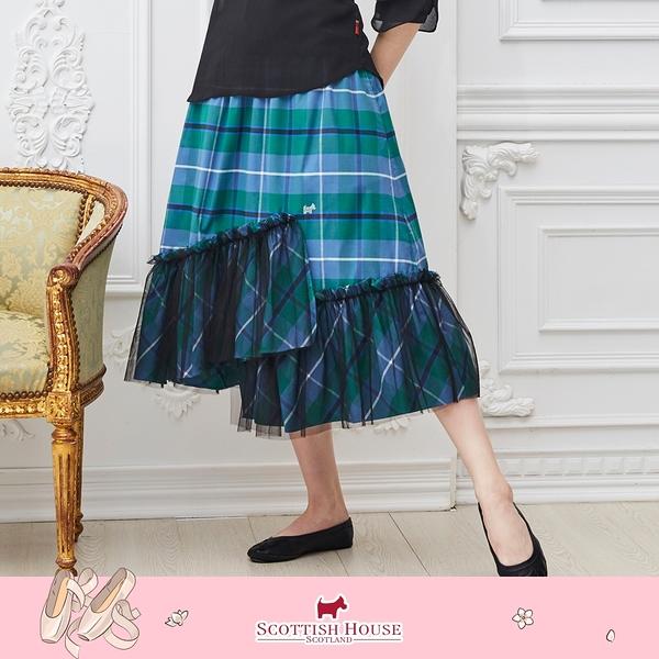 斜裁網紗下擺正格中長裙 Scottish House 【AM2121】