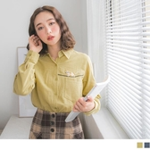《AB11189-》高含棉俏皮貓咪刺繡單口袋長袖襯衫 OB嚴選