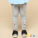 Azio 女童 長褲 兔子蝴蝶結胡蘿蔔貼布素色內搭長褲(灰) Azio Kids 美國派 童裝