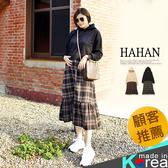 【HC5046】配色格紋拼接內刷毛連帽洋裝