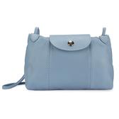 LONGCHAMP Le Pliage Cuir賽馬logo烙印軟皮革斜肩包(淡藍紫色)480700-B40