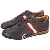 BALLY FRENZ 經典織帶拼接穿孔牛皮綁帶休閒鞋(咖啡色) 1530348-07