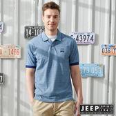 【JEEP】品牌經典素面短袖POLO衫-藍