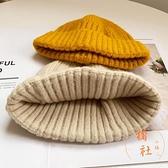 針織毛線帽子秋冬地主帽百搭氣質保暖冷帽休閒【橘社小鎮】