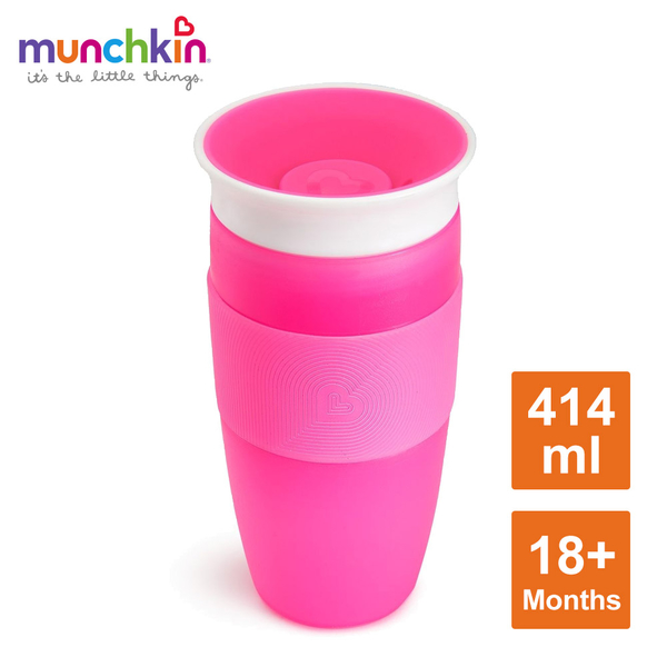 munchkin滿趣健-360度防漏杯414ml-粉