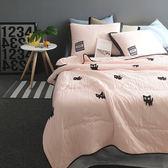 韓式可水洗毛巾繡夏涼被(含枕套)-粉橘小貓