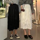 半身裙女韓版高腰中長款百褶裙長裙學生裙子   茱莉亞