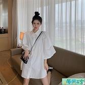 短袖 泡泡袖上衣女純色襯衫夏季寬鬆百搭顯瘦新款中長款短袖襯衣潮