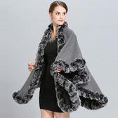 斗篷外套歐美加大碼雙面兩穿仿狐貍毛斗篷披肩女披風外套不規則針織蝙蝠衫 免運艾维朵