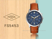 CASIO 手錶專賣店 FS5453 FOSSIL 三眼石英中性錶 皮革錶帶 咖啡 防水 羅馬數字