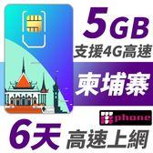 柬埔寨 6天 5GB高速上網 支援4G高速