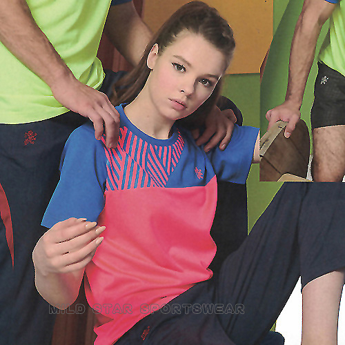 MILD STAR 男女吸濕排汗印花圖騰短T恤-螢粉寶藍#AS901046