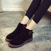 短靴 平底低跟皮帶扣磨砂復古短靴裸靴631-1247 巴黎春天