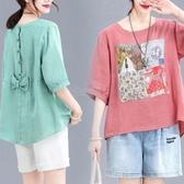 棉麻短袖T恤女夏裝寬鬆大碼方塊印花背后蝴蝶結休閒亞麻襯衫上衣 小城驛站