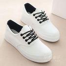 低筒帆布鞋女韓版厚底鬆糕鞋學生板鞋女式休閒鞋小白鞋女鞋  秘密盒子