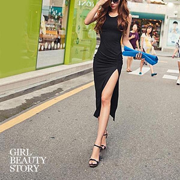 SISI【D7078】性感韓范圓領無袖中長款修身曲線包臀開叉抓皺連身裙洋裝