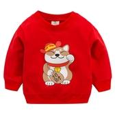 新品上市新款兒童T恤長袖抖音網紅同款招財貓童裝寶寶嬰幼兒春裝 海港城