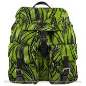 茱麗葉精品【下殺低價】PRADA 1BZ811 經典三角LOGO尼龍雙口袋後背包.綠