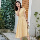 桔梗法式v領溫柔風收腰長裙子黃色格子氣質女神范洋裝女夏 米娜小鋪