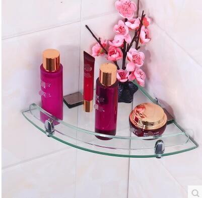 玻璃浴室置物架衛生間洗漱台三角架壁掛轉角304不銹鋼加厚淋浴房