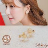 耳環 韓國直送乾燥壓花愛心造型夾式耳環-Ruby s 露比午茶