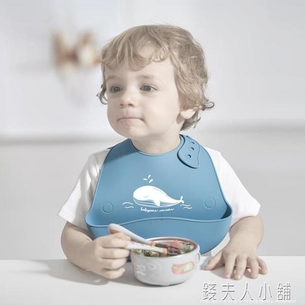 babycare寶寶嬰兒吃飯圍兜兒童防水硅膠圍嘴超軟口水兜飯兜巾免洗 錢夫人小鋪