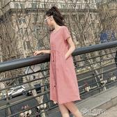 孕婦裙子中長款不顯肚子上衣服夏天時尚款夏裝寬鬆格子洋裝長裙 小城驛站