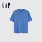 Gap男女同款 棉質舒適厚磅純色圓領短袖T恤 590048-藍色