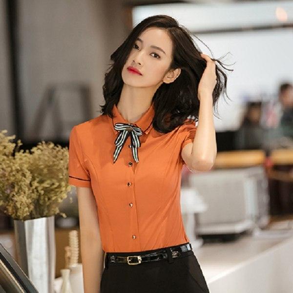 美之札[8S077-PF]中尺碼*甜美條紋領結OL通勤上班短袖襯衫(未附領結)