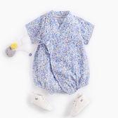藍紫花果日系浴衣包屁衣 哈衣 兔裝 包屁衣 連身包屁衣 短袖上衣 童裝