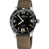 ORIS 豪利時 Divers Sixty-Five 1965復刻潛水機械錶-黑x卡其/40mm 0173377074064-0752022