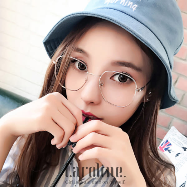 《Caroline》★年度韓版最新款式金屬眼鏡風時尚個性方框平光眼鏡  69740