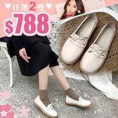 任選2雙788包鞋簡約日常休閒風繫帶皮面圓頭平底鞋包鞋【02S10541】