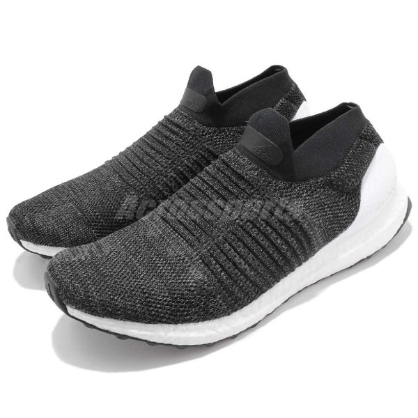 adidas 慢跑鞋 UltraBOOST Laceless 黑 白 運動鞋 無鞋帶 舒適緩震 襪套式 男鞋【PUMP306】 BB6140