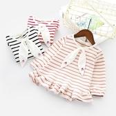女童T恤新品上市秋裝新款女寶寶荷葉邊下擺娃娃衫兒童條紋長袖打底衫