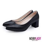高跟鞋 粗跟鞋 經典璀璨珠光素面美型磁石足弓支撐中跟鞋-MIT手工鞋(璀璨黑)—諾蕾蒂Normlady