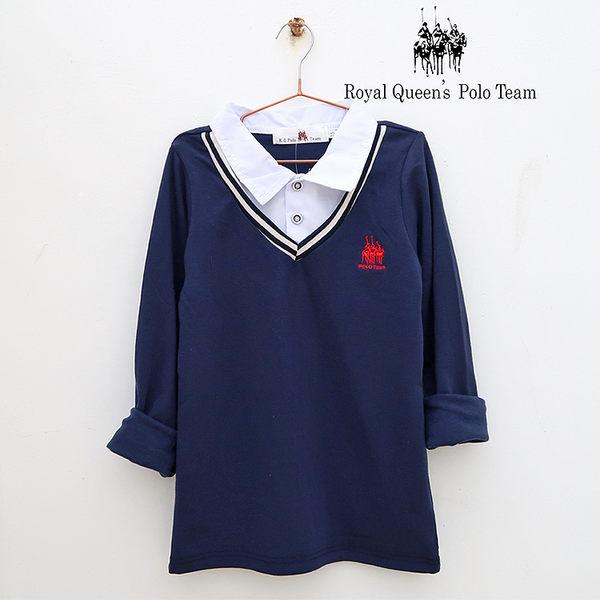 男童白襯衫領假兩件式條紋棉T RQ POLO 小童秋冬款[65594]