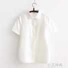 2020夏裝韓版襯衫短袖女純棉寬鬆百搭白色娃娃領文藝顯瘦半袖襯衣【小艾新品】