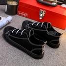 2021新款帆布鞋男女平底一腳蹬韓版懶人鞋學生板鞋全黑色球鞋【全館免運】