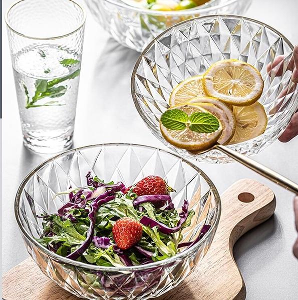 碗 透明玻璃碗盤家用水果沙拉碗單個ins網紅學生泡面創意耐熱碗餐具【快速出貨八折下殺】