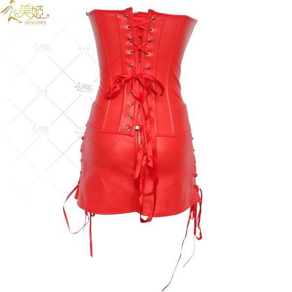 衣美姬♥歐美 宮廷仿皮緊身兩件式束身衣 俱樂部 夜店辣妹制服套裝